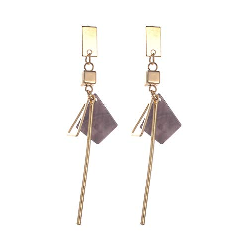 Earring Women's Geometric Long Ear Hook Tassel Bar Square Triangle Asymmetrical Dangle Gold Plated Ear Stud Gift Girls ()
