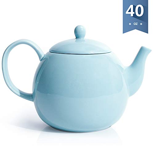 Sweese 2311 Porcelain Teapot, 40 Ounce Tea Pot - Large Enough for 5 Cups, Turquoise -