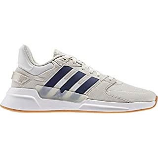 adidas Men's RUN90S Track Shoe, Cloud White/Dark Blue/raw White, 8.5 Standard US Width US
