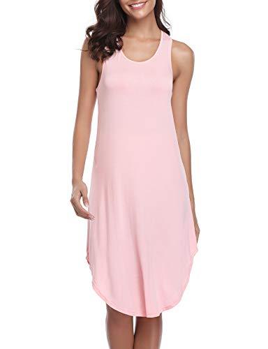 (Abollria Nightgowns Women's Cotton Sleepwear Sleeveless Sleep Dress Night Shirts Pink S)
