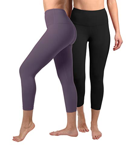 (90 Degree By Reflex - High Waist Tummy Control Shapewear - Power Flex Capri - Black and Royal Plum 2 Pack - XS)
