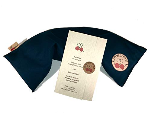 Old World Style Neck Cherry Pit Pillow in Dark Blue - for Neck, Muscle, Joint, Stomach Pain, Menstrual Cramp Relief - Soft Brushed 100% Cotton - Cherry Stone Heat Pack Pad - Unique Gift - Made in USA