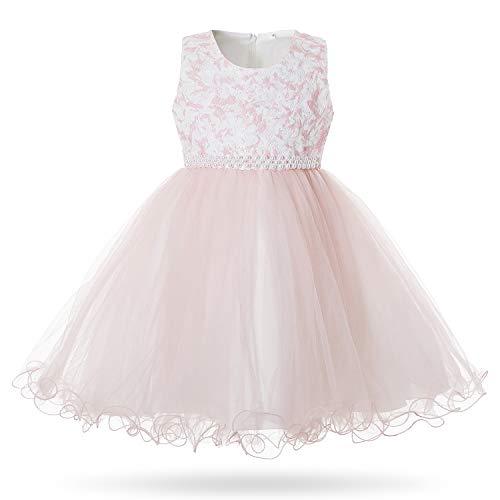 CIELARKO Girls Lace Dress Kids Flower Wedding Party Dresses for 2-11 Years Pink ()