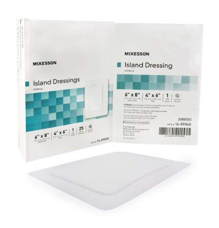- McKesson - Adhesive Dressing McKesson 6 X 8 Inch Polypropylene / Rayon Rectangle White Sterile - 25/Box - McK