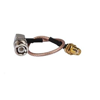 Bingfu RF Pigtail Standard 50 Ohm Right Angle BNC Plug Male to SMA Jack Female on