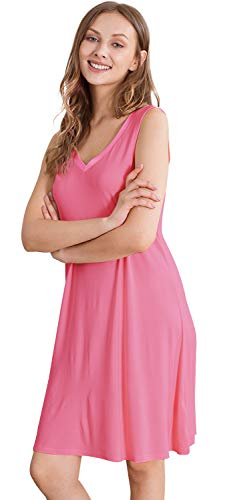 (WiWi Bamboo Sleeveless Chemise Nightgowns for Women V Neck Sleep Shirts S-XXXXL(4XL), Raspberry Pink, 3X-Large)