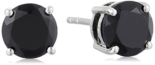 Sterling Silver Black Spinel 7 mm Round Stud Earrings Black Spinel Earrings
