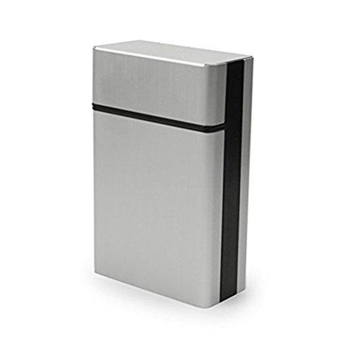 OULII Zigaretten-Etui Zigarette Zigarre schützende Deckel (Silber)