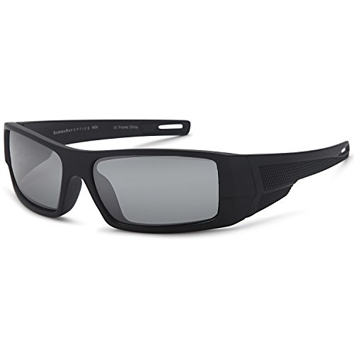 GAMMA RAY OPTICS Polarized Sunglasses for Men Sport Wrap Grey Lens