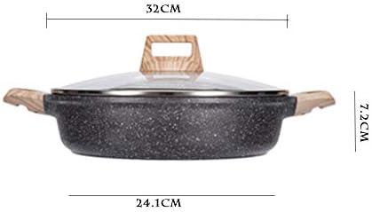 PoêLe Aluminium PoêLe À Frire Pierre Maifan Pan Anti-AdhéSif Pas de FuméE Wok RevêTement AntiadhéSif Pour Tous Les Types de Cuisine,32cm