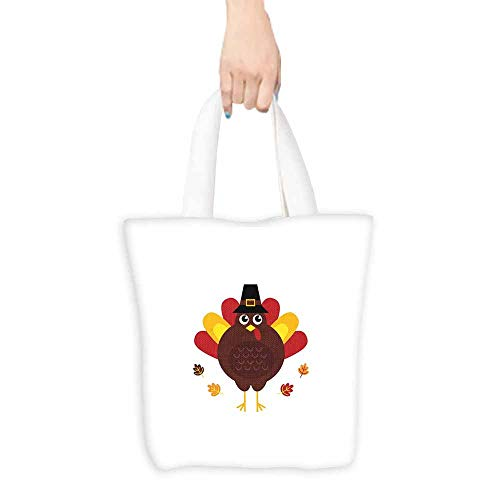 Turkey tote bag for women Cartoon Style Pilgrim Bird with Hat Fun Animal Character American Tradition boutique 16.5