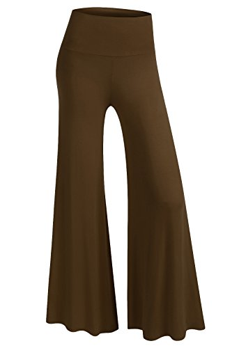 BIADANI Women Classic Soft Chic Wide Leg Foldover Band Palazzo Pants Dark Mocha 1X-Large