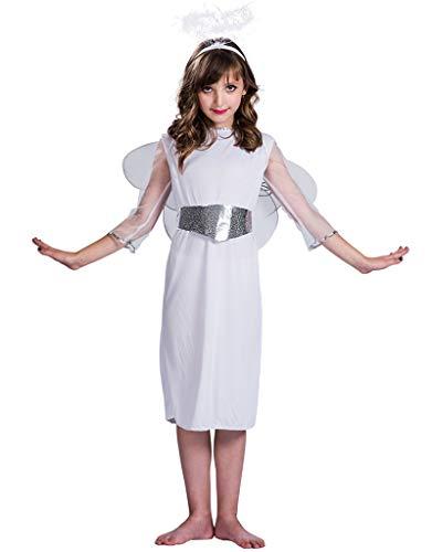 Guardian Angel Child Costume, Women's Angel Dress Costume Girls Angel Costume Set Fairy Dress Halloween Party Fancy Skirt Headwear Belt & Wings