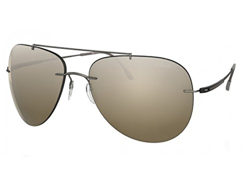 Silhouette Aviator Sunglasses Adventurer (aviator matte gunmetal/ silver mirror brown gradient, one color) (Silhouette Mirror)