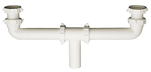 Plumb Pak PP930W Center Waste Outlet with Baffle Tee, 1-1/2 in Inlet, Slip Joint/Direct Connect, Plastic, 16
