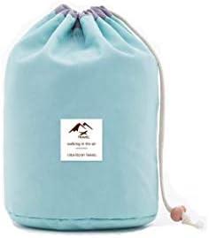 safeinu 1個 携帯用洗浄袋旅行ドラム洗浄袋 化粧品袋 クリスマスギフト 防水化粧品袋 収納袋 シリンダー化粧品袋 Green 23 x 17cm 9 x 6.6inch