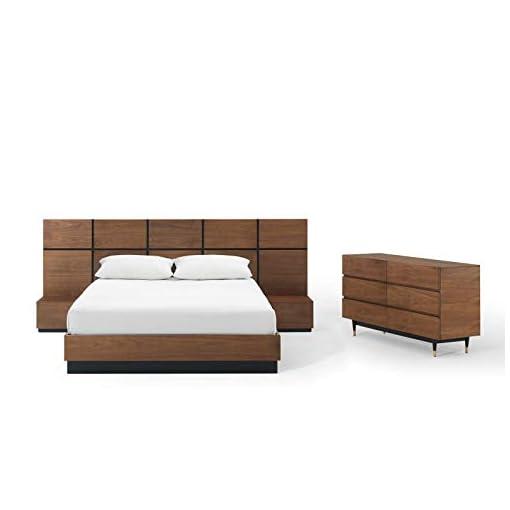 Bedroom Modway Caima 4-Piece Bedroom Set, Walnut modern bedroom furniture sets