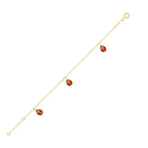 DIAMANTLY Bracelet bebe 3 breloques cocci rouge or 750 - 16 cm