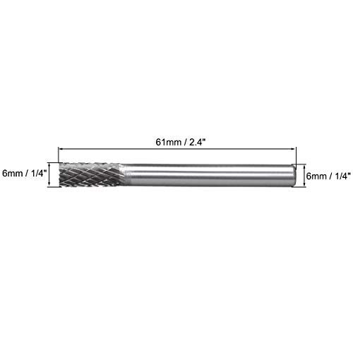 Carbide burs YG8 Double Cut Rotary Cutters File Cylinder Shape Cutters with 1//4 inch Shank and 1//4 inch Head Size.