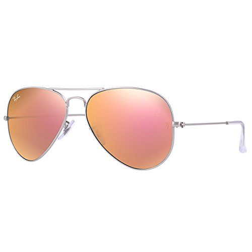 Ray-Ban RB3025 Aviator Flash Mirrored Sunglasses, Matte Silver/Copper Flash, 55 mm (Pink Ray Ban Aviators)