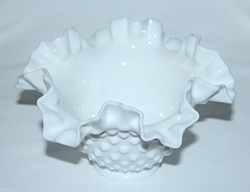 Vintage Fenton Hobnail WHITE Milk Glass Ruffled Edge Bowl (6 1/2