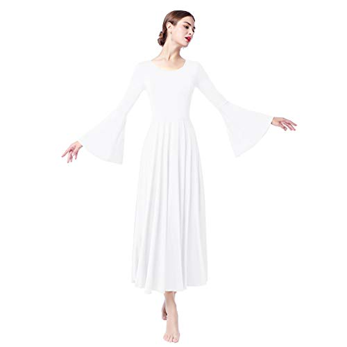 g Sleeves Liturgical Praise Lyrical Dance Dress Solid Loose Fit Full Length Maxi Swing Gown Pleated Ruffle Tunic Circle Skirts Christian Worship Costume Praisewear White XL ()