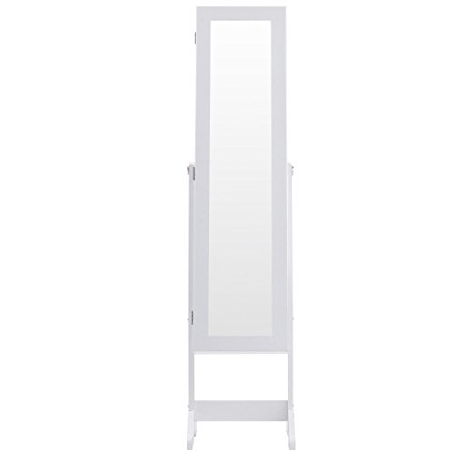White Mirrored Jewelry Cabinet Armoire Standing Storage Organizer with LED (Large Mahogany Jewelry Armoire)