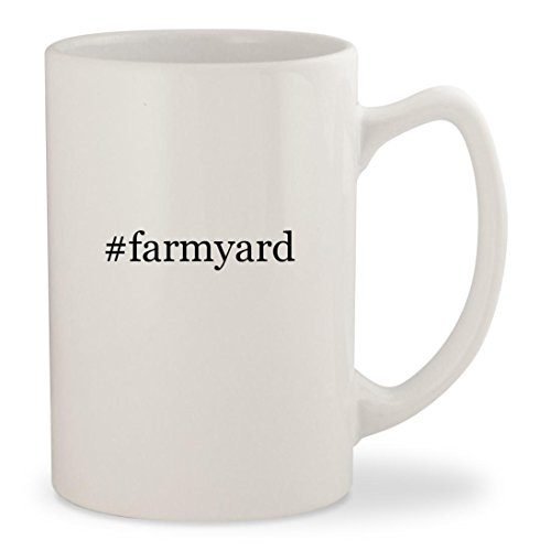 #farmyard - White Hashtag 14oz Ceramic Statesman Coffee Mug - Mat Farmyard Funky Activity