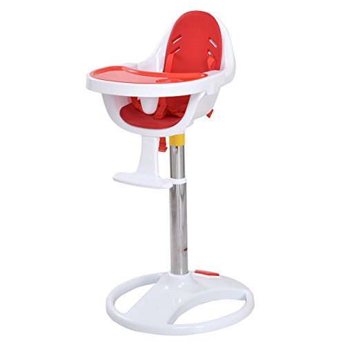 Red Pedestal Baby High Chair Infant Durable Feeding Dining Table Safety Seat + FREE E - Book