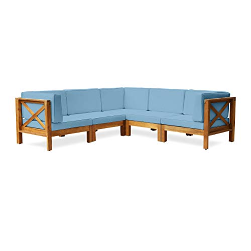 Keith Outdoor Acacia Wood 5 Seater Sectional Sofa Set with Water-Resistant Cushions, Teak and Blue
