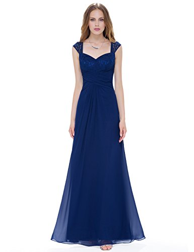 Ever-Pretty Womens Empire Ruched Waist Sleeveless Floor Length Mother Of The Bride Dress 14 US Navy Blue