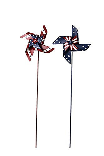 Metal Patriotic (Waroom Home Patriotic Pinwheel Set of 2, American Flag Metal Wind Spinner for 4th of July Decoration, Stars and Stripes, Red White and Blue (M))