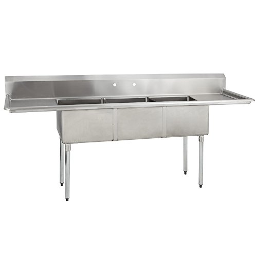 Fenix Sol 18G-3C16X20-218 Three Compartment Stainless Steel Sink, Bowl: 16