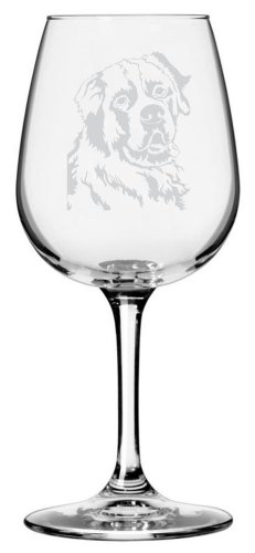 Saint Bernard Dog Themed Etched All Purpose 12.75oz Libbey Wine Glass