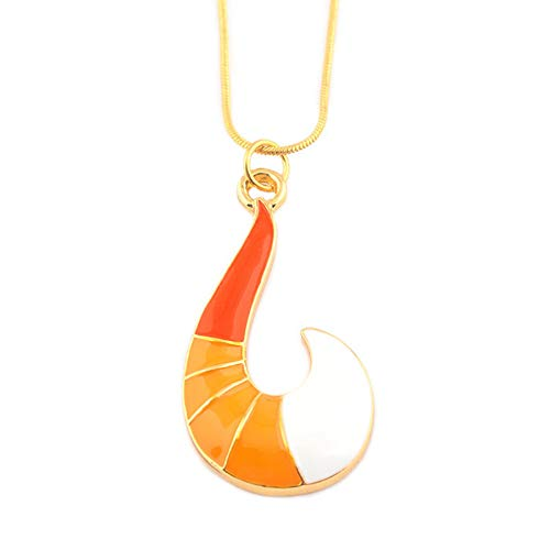MEETCUTE yakangda Miraculous Anime Ladybug Necklace Gold Fox Fish Hook Shape Sweater Necklaces Pendant Cosplay Miraculous Jewelry Accessories
