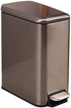 ゴミ箱 YKBBA 5lステンレス鋼静かなキッチンゴミ箱ゴミ箱ゴミ箱ゴミ袋ゴミ袋ゴミ箱キッチンビン29 * 22 * 14センチ銃色