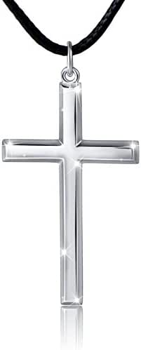 Men's 925 Sterling Silver Classic Cross Pendant Necklace, 24