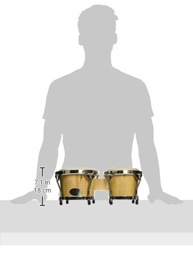 GP Percussion B2 Pro-Series Tunable Bongos 6 & 7 Inch (Clear Finish, Hickory) by GP Percussion (Image #2)