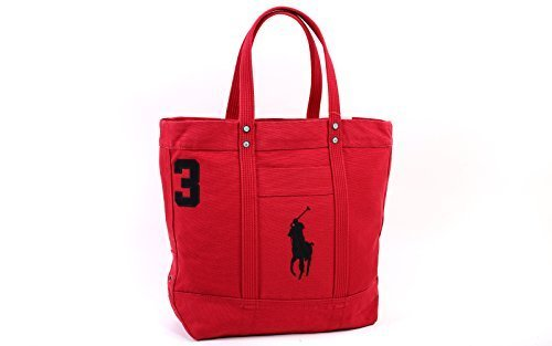 Polo Ralph Lauren Cotton Canvas Big Pony Zip Tote Bag (One size, Parkave red)