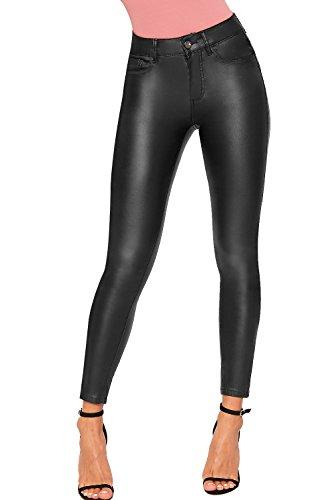 WearAll Femmes Faux Cuir Maigre Jambe Jeans Nouveau Dames Humide Regardez Biker Pantalon Pantalon - 34-42 Noir