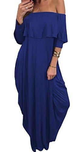 Les Femmes Confortables Épaule Maigre Hors Poches Soirée Froissée Bleu Robe