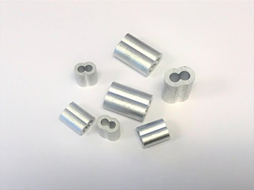 1/8'' Wire Rope Aluminum Hourglass Crimping Sleeves - 200pcs by Safeland