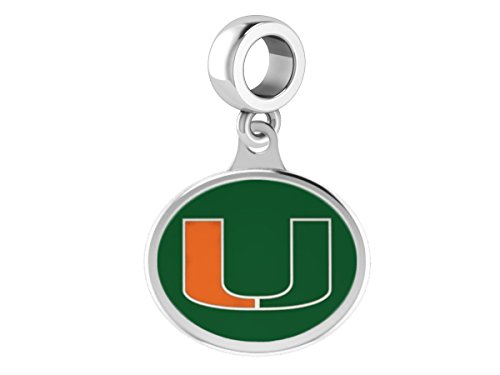 Miami Hurricanes Sterling Silver Enamel Dangle Bead Charm Fits All European Style Beaded Charm Bracelets