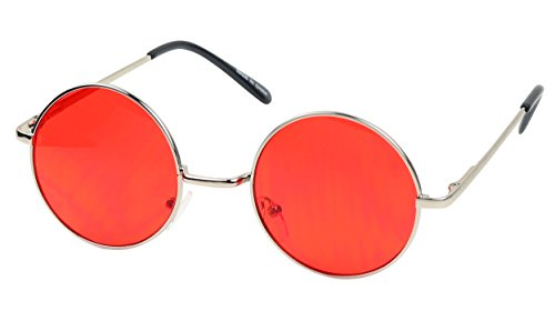 ShadyVEU - Retro Colorful Tint Lennon Style Round Groovy Hippie Wire Sunglasses (Red Lens, 50)
