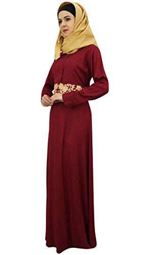 Rayon Di Vestito Abaya Jilbab Maxi Musulmani Marrone Bimba Signore Cotone Hijab Dai 8Bx0OOn