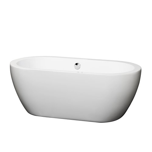 Wyndham Collection Soho 60 inch Freestanding Bathtub for Bathroom in White with Polished Chrome Drain and Overflow ()