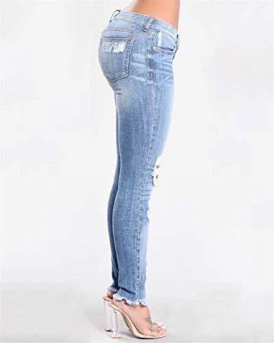 Rasgado Lápiz Rasgados Agujero Rodilla Ropa De Flaco Vaqueros Blau Adelina Alta Casuales Pitillo La Estiramiento Pantalones Cintura Mujer Oqfn6