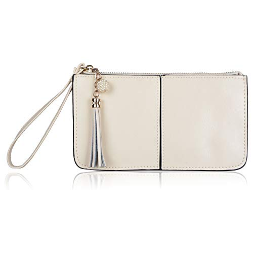 (Befen Women Leather Zipper Phone Wallet with Card Holder/Cash Pocket/Wrist Strap (Ivory))