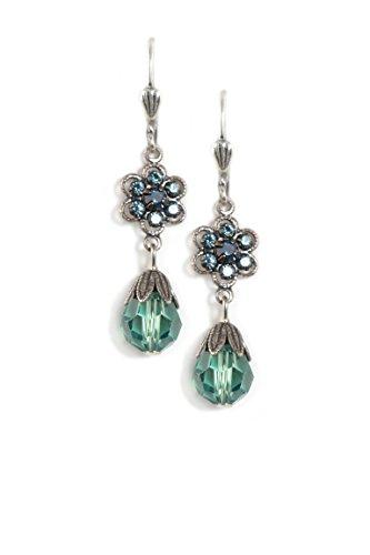 (Clara Beau 2Tier Teal color Swarovski Glass Crystal and Bead Silvertone Flower Cluster Earrings EAM125)
