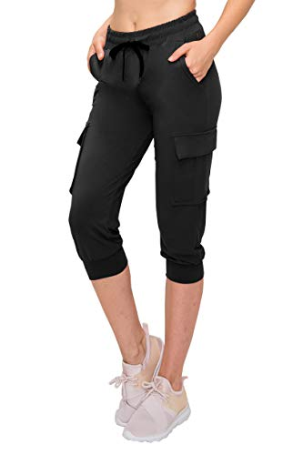 ALWAYS Women Capri Jogger Pants - Lightweight Skinny Solid Soft Stretch Drawstrings Pockets Cargo Sweatpants Black L/XL ()